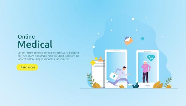 Conselho de suporte médico on-line ou conceito de serviço médico de saúde com caráter de pessoas Vetor Premium