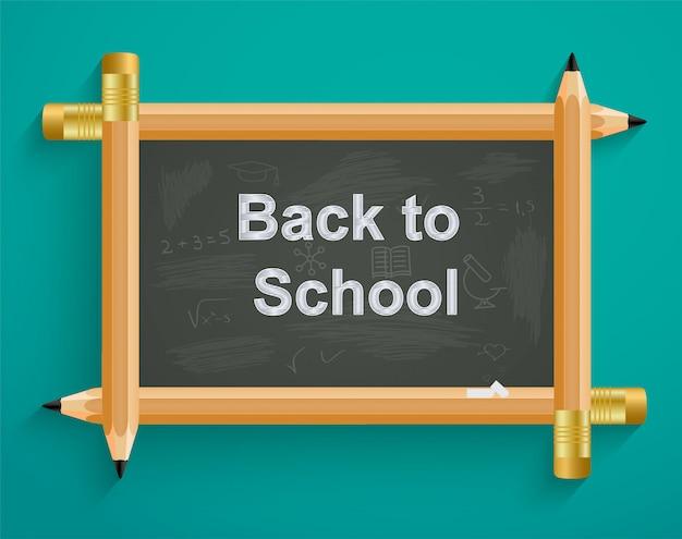 Conselho escolar com lápis, de volta à escola Vetor Premium