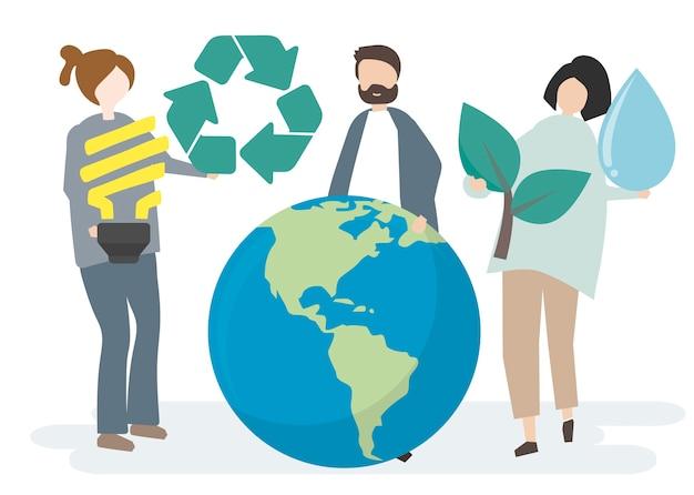 Conservação ambiental e proteção do nosso mundo Vetor grátis