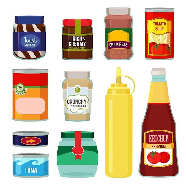 Conservação de tomate, peixe, legumes e outros alimentos Vetor Premium