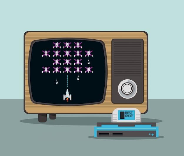 Console de videogame e tv Vetor Premium