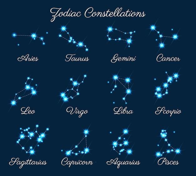 Constelações do zodíaco Vetor Premium