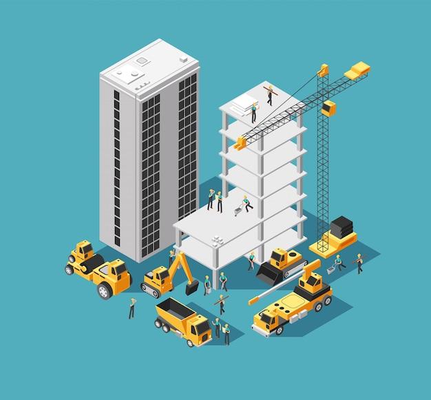 Construção civil 3d isométrica com construtores e equipamentos pesados. fundo de canteiro de obras de casa Vetor Premium