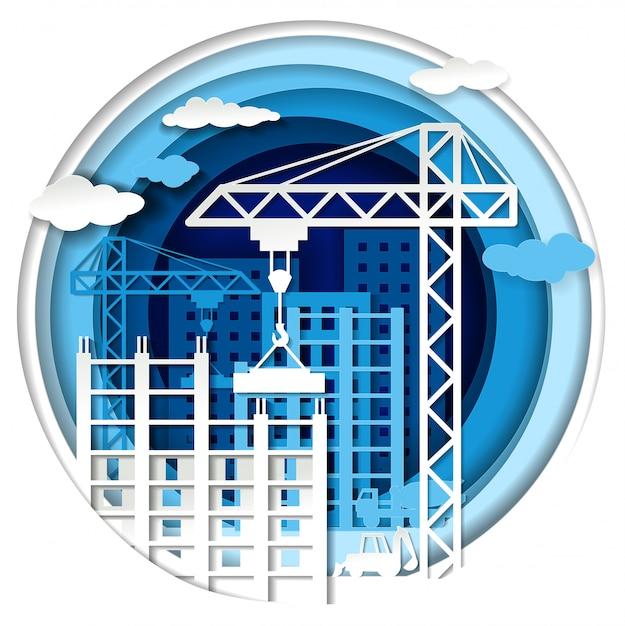 Construção civil, em estilo de arte em papel Vetor Premium