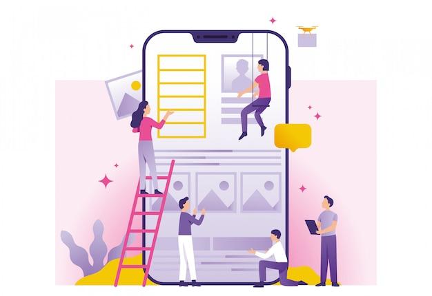 Construção de aplicativos Vetor Premium