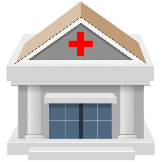 Construção de casa hospitalar 3d Vetor Premium
