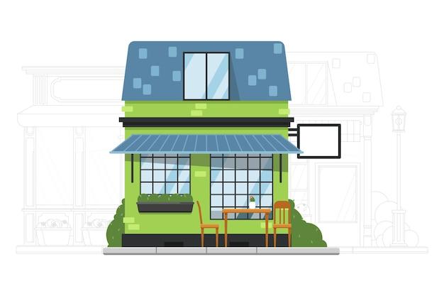 Construção de casas. casa de pequeno subúrbio. exterior de prédio de apartamentos residenciais de café ou albergue. rua adjacente com ilustração da silhueta da mansão Vetor Premium