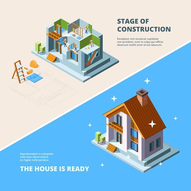 Construção de casas. repare a renovação do telhado construindo ilustração isométrica para banners. Vetor Premium