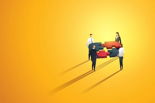 Construção de cooperação do negócio pessoa trabalho em equipe parceria criar uma interação de equipe para gol, infográfico de quebra-cabeça. ilustração Vetor Premium