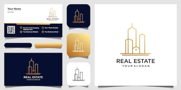 Construção de design de logotipo na linha artística. conjunto de design de logotipo e cartão de visita Vetor Premium