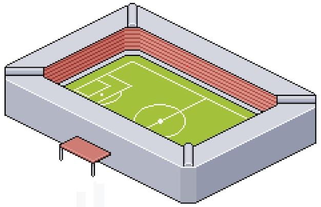 Construção de estádio de futebol de pixel art para jogo de bits Vetor Premium