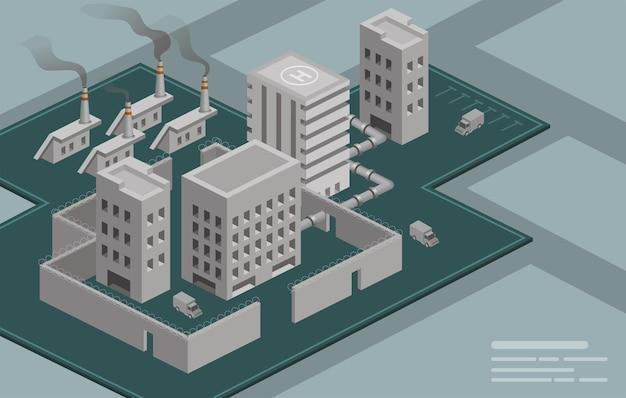 Construção de fábrica isométrica. poluição de chaminé industrial de fábrica de indústria com fumaça no ambiente. fábrica de estilo eco, ilustração 3d Vetor grátis