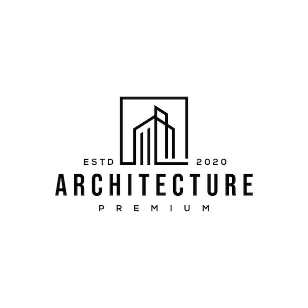 Construção de logotipo de arquitetura Vetor Premium