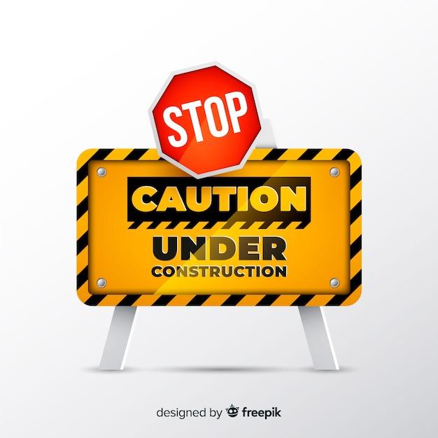 Construção de sinal amarelo estilo realista Vetor grátis