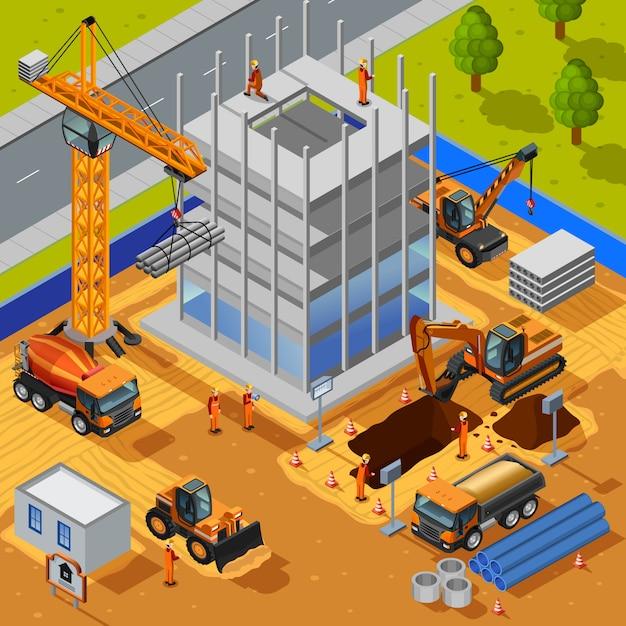 Construção de vários andares edifício ilustração Vetor grátis