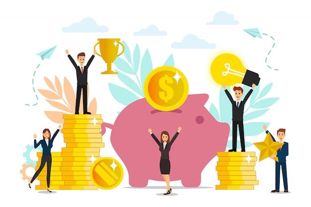 Construção e o cultivo de lucros em dinheiro, crescimento de carreira para o sucesso, ícones de cores planas, análise de negócios, equipe têm idéia. Vetor Premium