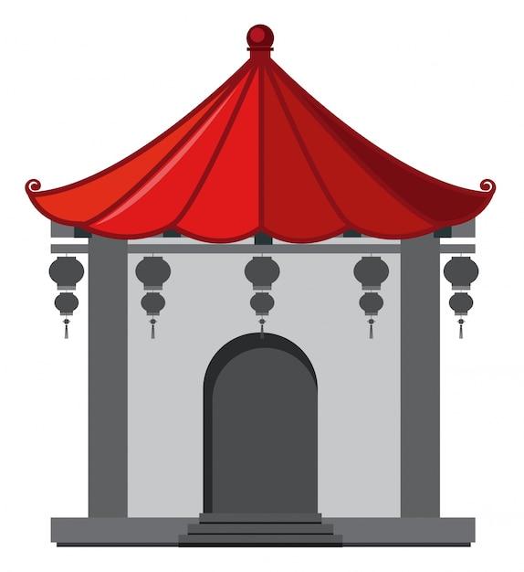 Construção em estilo chinês com telhado vermelho Vetor Premium