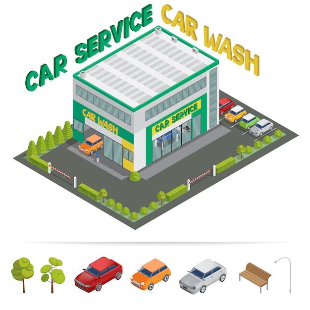 Construção isométrica de lavagem de serviço de carro Vetor Premium