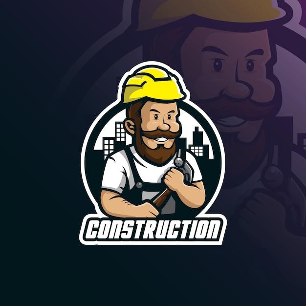 Construção mascote projeto logo vector com estilo moderno conceito de distintivos, emblemas e impressão de camiseta Vetor Premium