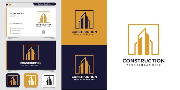Construção ou construção de logotipo e design de cartão de visita Vetor Premium