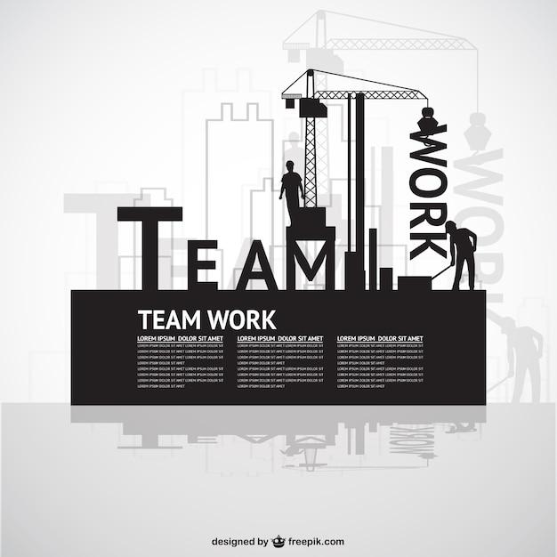 Construção template trabalho em equipe Vetor grátis