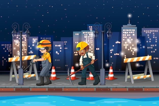 Construção trabalhando à noite Vetor Premium