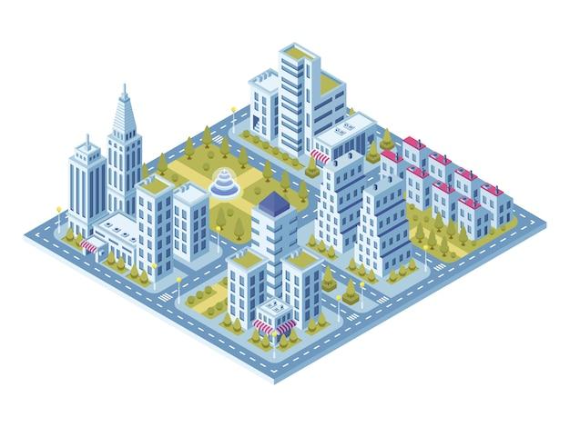 Construções modernas da cidade, delegacia, estrada com carros e supermercado, construção do museu. Vetor Premium