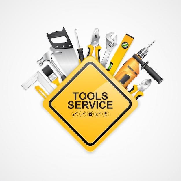 Construction concept set tools supplies for construtor de construção Vetor Premium
