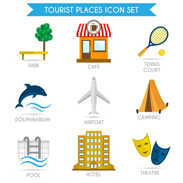 Construindo ícones de turismo plana Vetor grátis