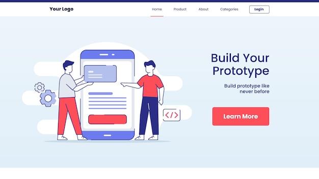 Construir conceito de protótipo de aplicativo para design de página inicial de modelo de site Vetor Premium