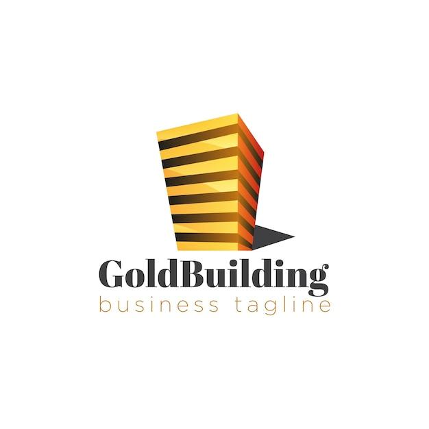 Construir logotipo dourado Vetor grátis