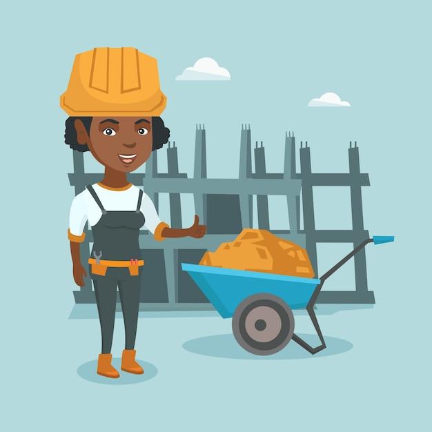 Construtor afro-americano novo que dá o polegar acima. Vetor Premium