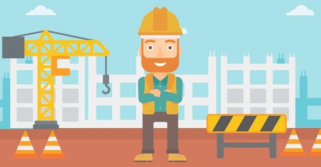 Construtor amigável com braços cruzados. Vetor Premium