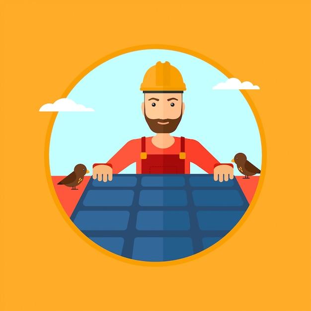 Construtor com painel solar. Vetor Premium