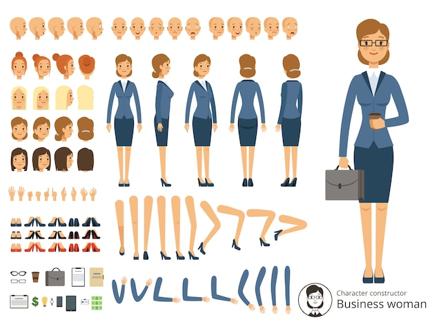 Construtor de caráter de mulher de negócios. ilustrações dos desenhos animados de diferentes partes do corpo e th Vetor Premium