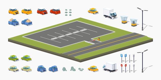 Construtor de estacionamento isométrico 3d lowpoly Vetor Premium