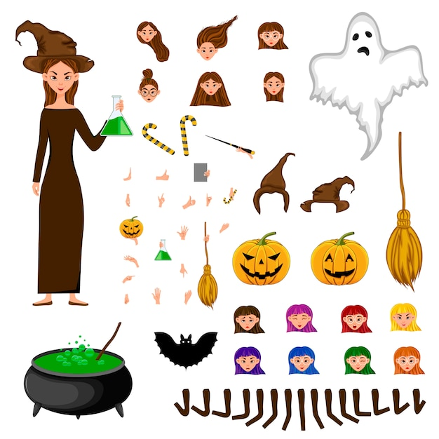 Construtor de halloween conjunto de personagens femininas. menina com atributos de férias. Vetor Premium
