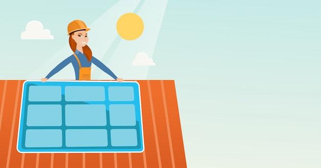Construtor de instalação do painel solar. Vetor Premium