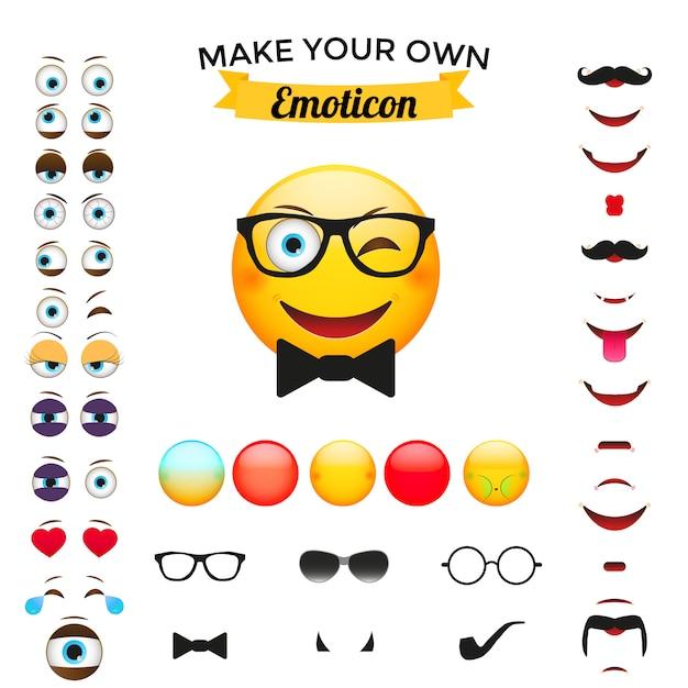 Construtor emoticon Vetor Premium