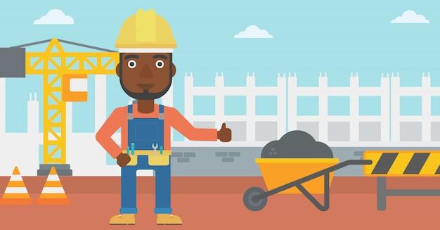 Construtor mostrando os polegares. Vetor Premium