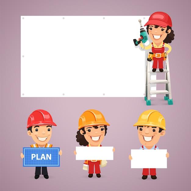 Construtores apresentando banners vazios Vetor Premium