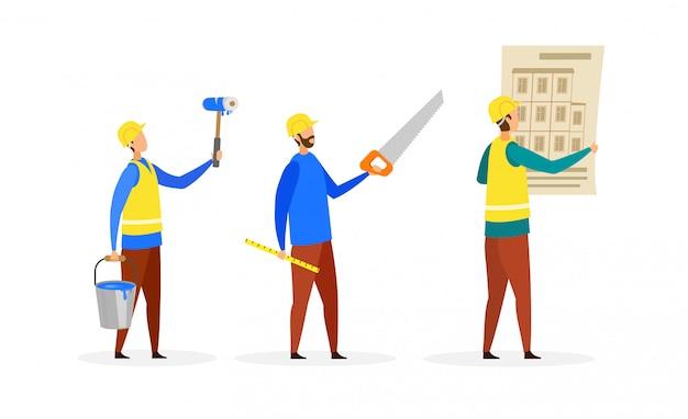 Construtores, conjunto de personagens de desenhos animados de tripulação de construção Vetor Premium