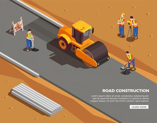 Construtores e agrimensores com máquinas e sinais de alerta durante a composição isométrica de construção de estradas Vetor grátis