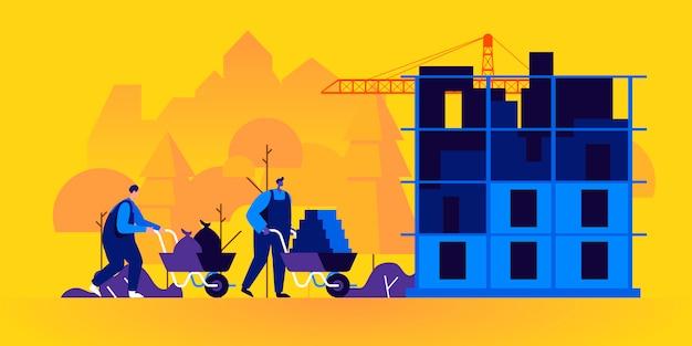 Construtores trabalhando no canteiro de obras Vetor Premium