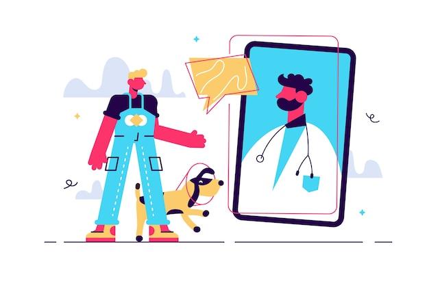 Consulta ao médico veterinário, proprietário do sexo masculino millennial com um cachorro em uma consulta online, Vetor Premium