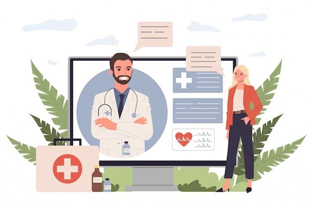Consulta ao paciente on-line Vetor Premium