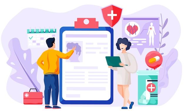 Consulta com médico usando conceito de comunicação remota Vetor Premium
