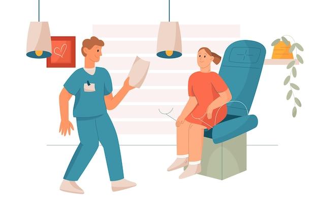 Consulta de ginecologia ilustrada Vetor grátis