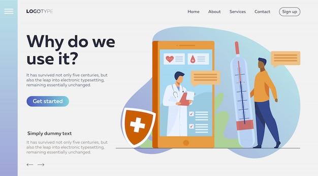 Consulta médica on-line via smartphone Vetor grátis