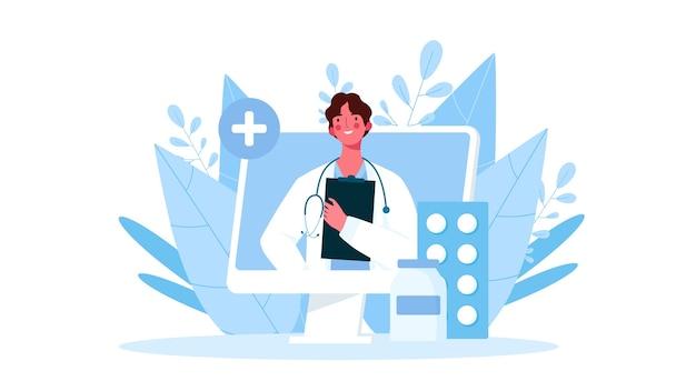 Consulta médica online, suporte. médico online. serviços de saúde.  ilustração | Vetor Premium
